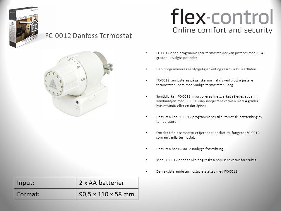 FC-0012 Danfoss Termostat Input: 2 x AA batterier Format: