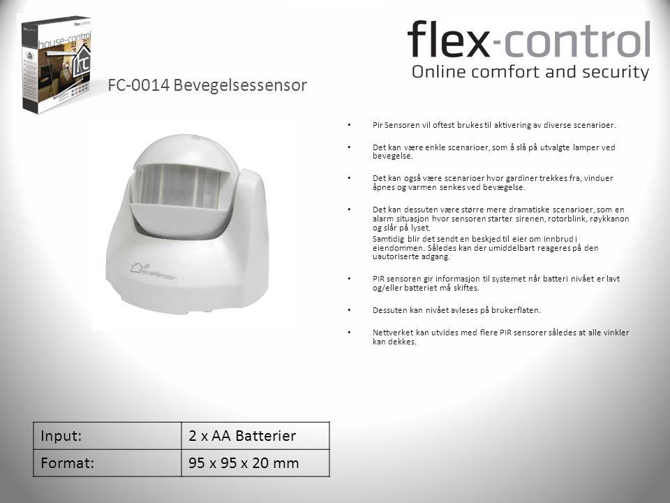 FC-0014 Bevegelsessensor Input: 2 x AA Batterier Format: