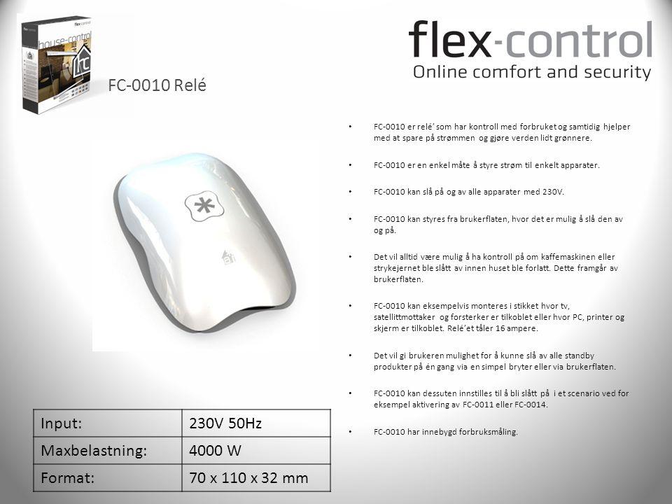 FC-0010 Relé Input: 230V 50Hz Maxbelastning: 4000 W Format: