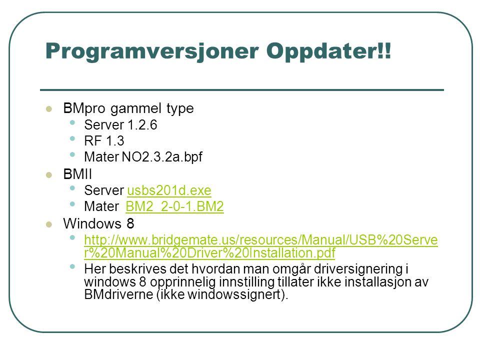 Programversjoner Oppdater!!