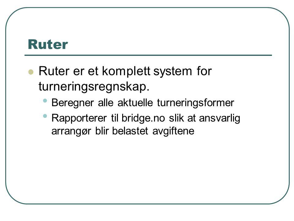 Ruter Ruter er et komplett system for turneringsregnskap.