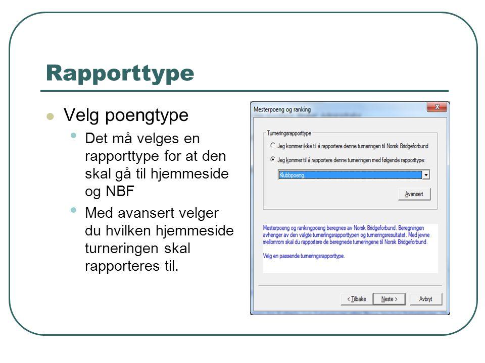 Rapporttype Velg poengtype