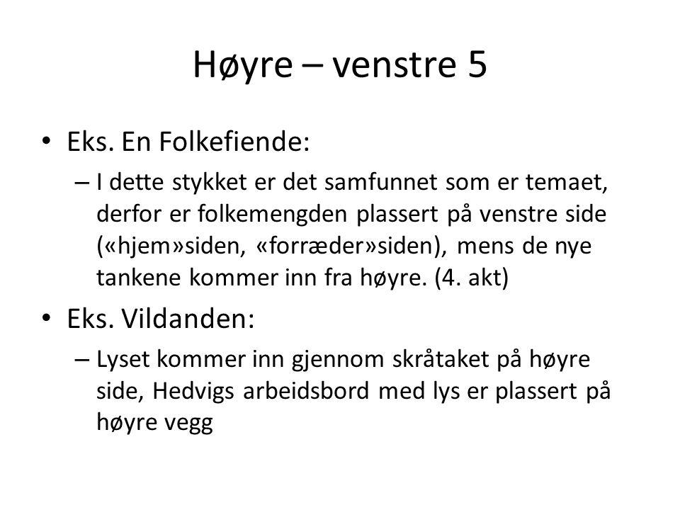 Høyre – venstre 5 Eks. En Folkefiende: Eks. Vildanden: