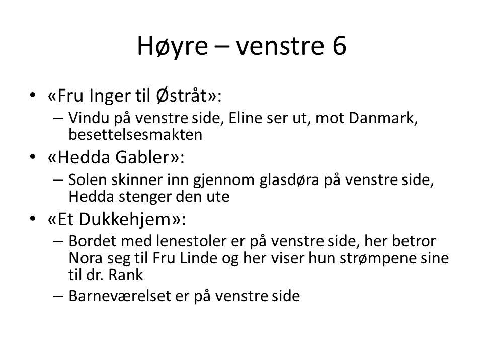 Høyre – venstre 6 «Fru Inger til Østråt»: «Hedda Gabler»: