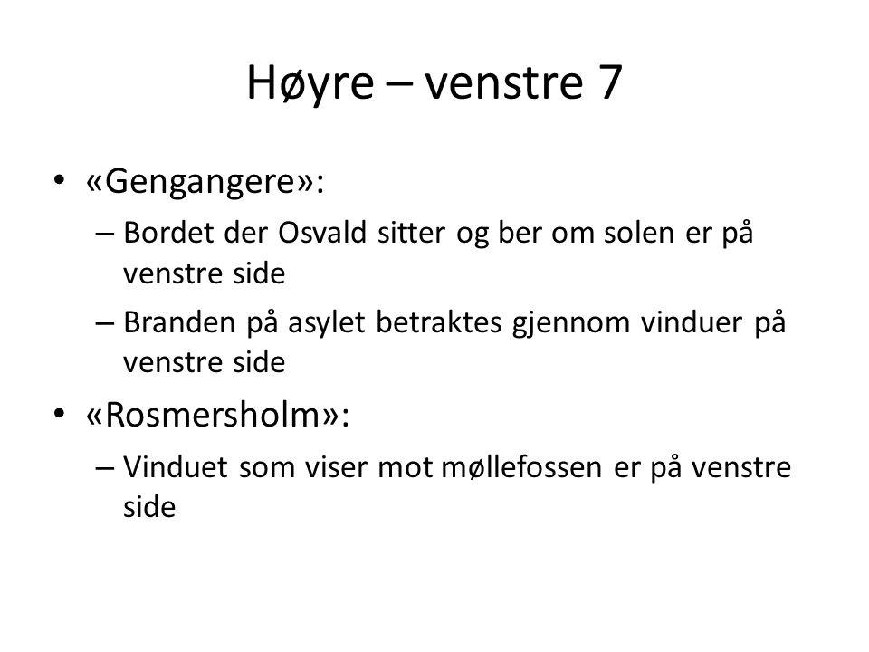 Høyre – venstre 7 «Gengangere»: «Rosmersholm»: