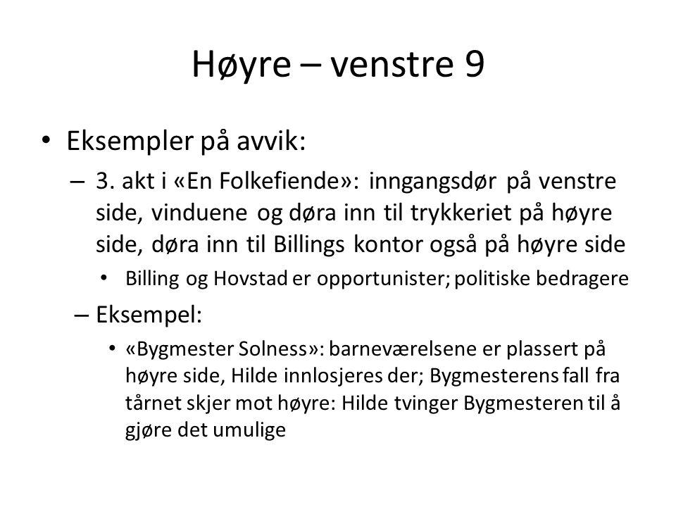 Høyre – venstre 9 Eksempler på avvik:
