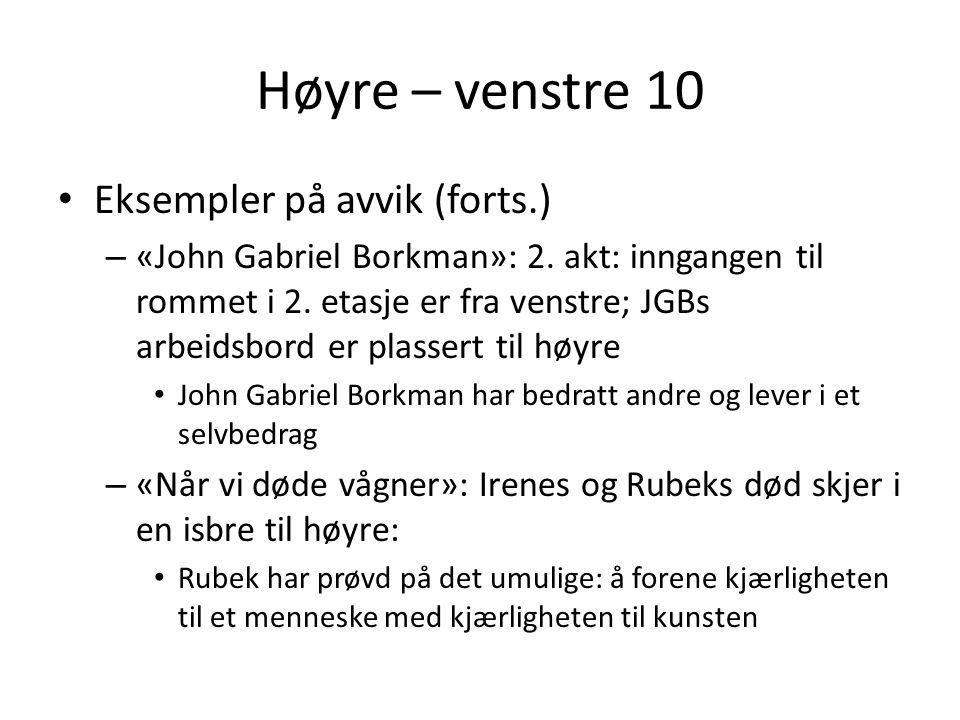 Høyre – venstre 10 Eksempler på avvik (forts.)