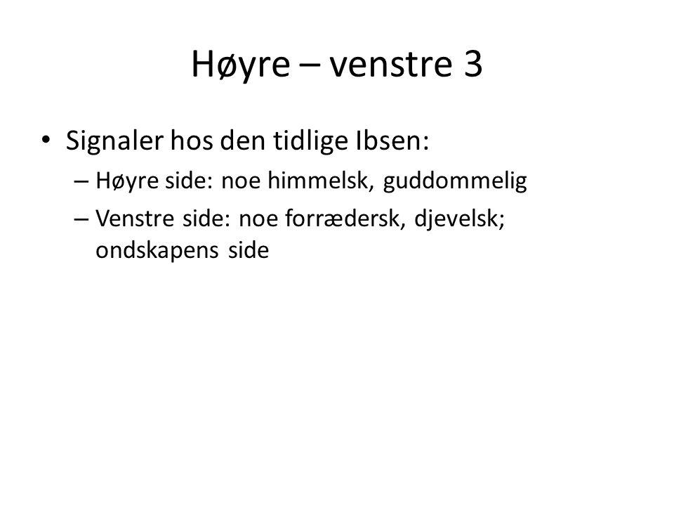 Høyre – venstre 3 Signaler hos den tidlige Ibsen: