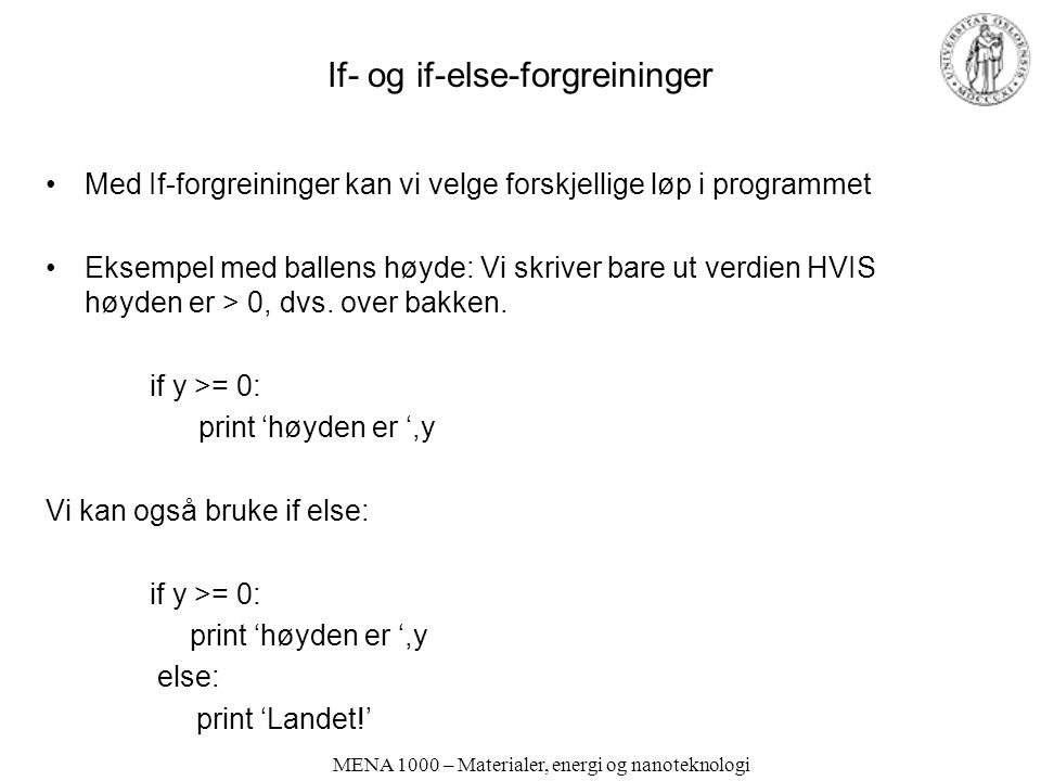 If- og if-else-forgreininger