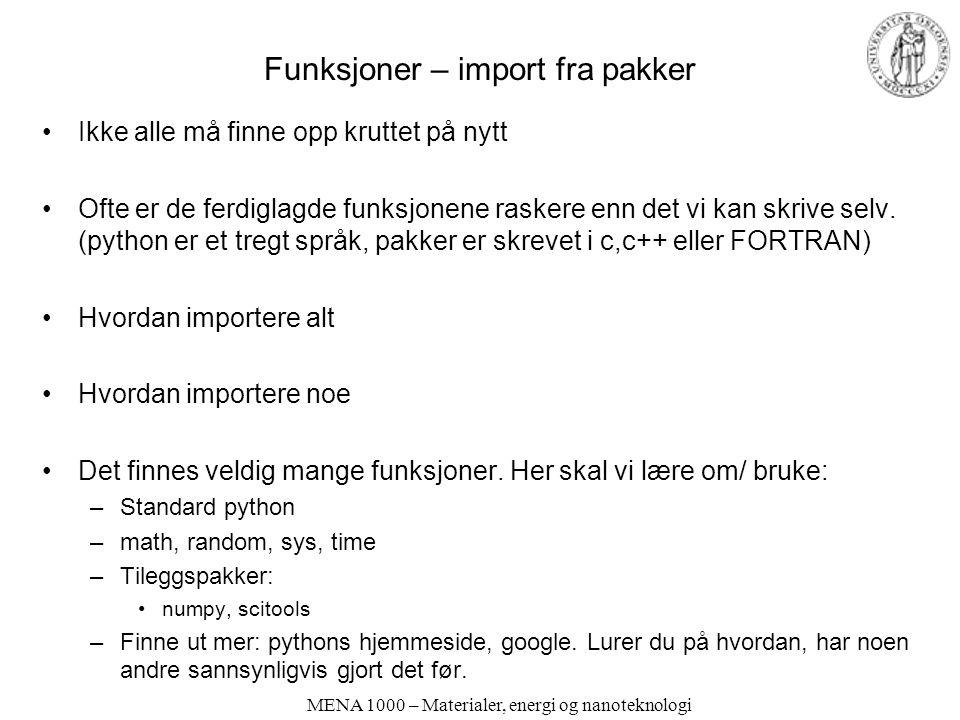 Funksjoner – import fra pakker