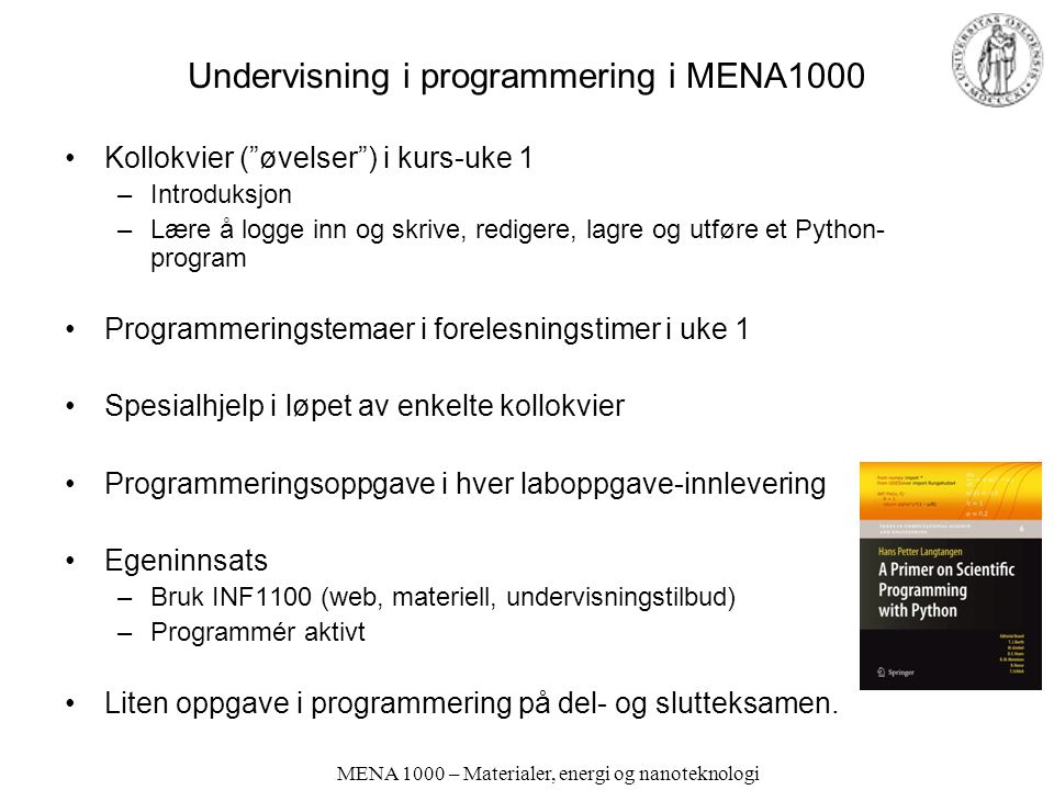 Undervisning i programmering i MENA1000