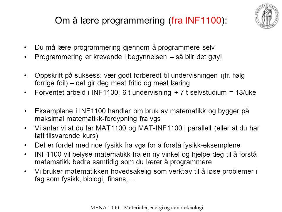 Om å lære programmering (fra INF1100):