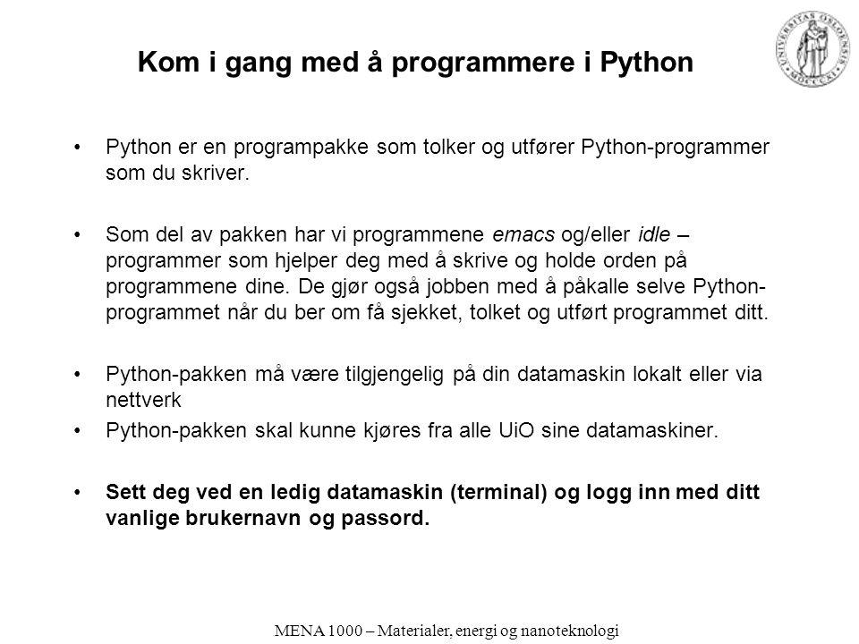 Kom i gang med å programmere i Python
