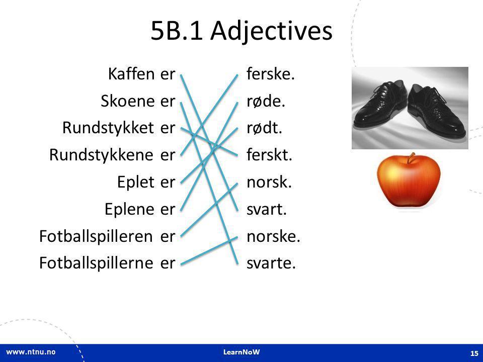 5B.1 Adjectives Kaffen er Skoene er Rundstykket er Rundstykkene er Eplet er Eplene er Fotballspilleren er Fotballspillerne er