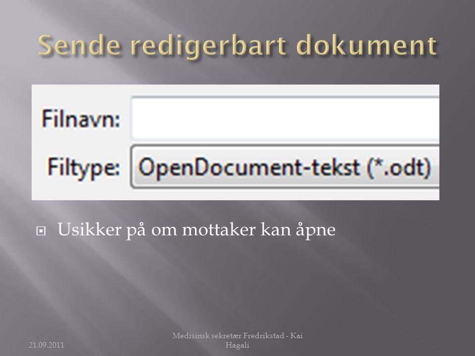 Sende redigerbart dokument