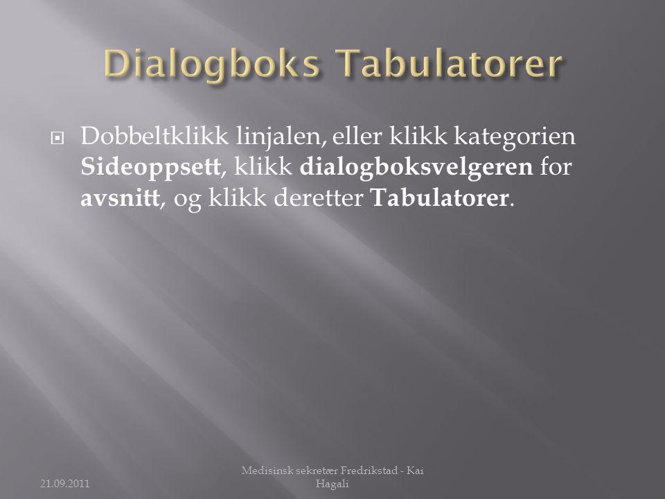 Dialogboks Tabulatorer
