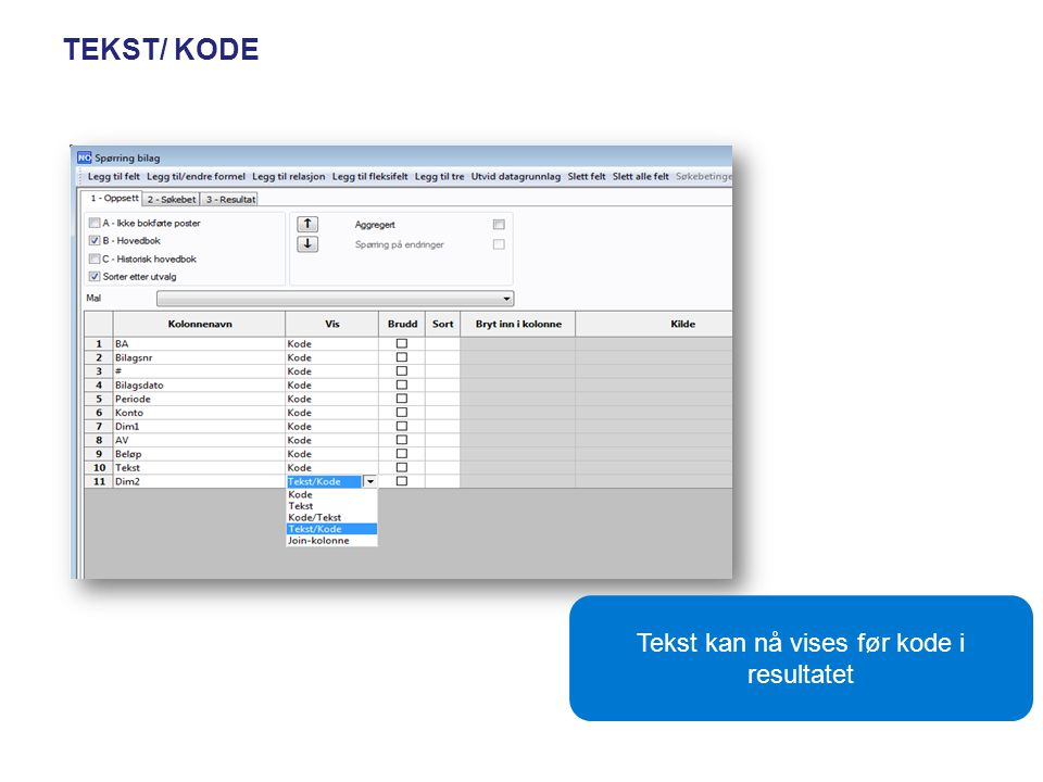 Tekst kan nå vises før kode i resultatet
