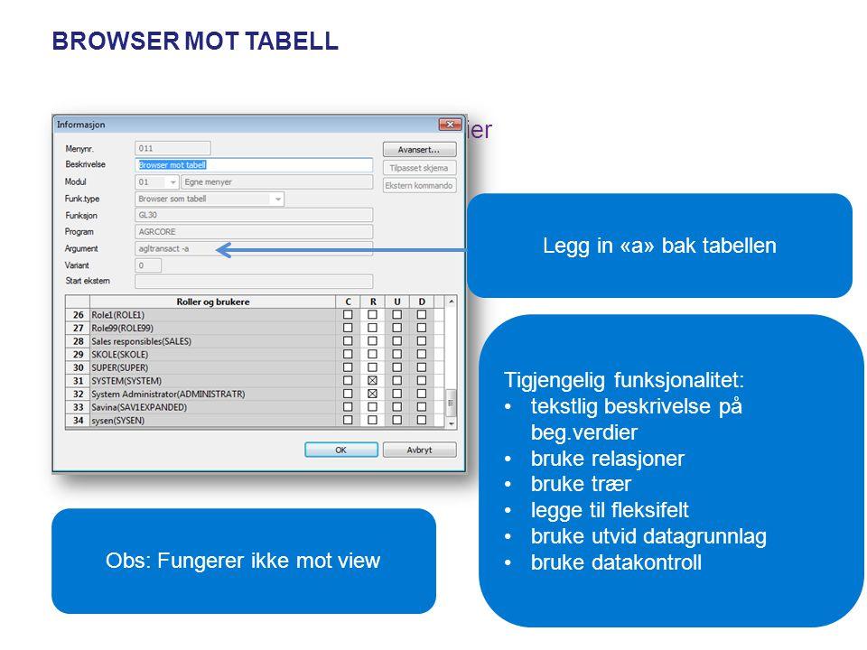 Browser mot tabell