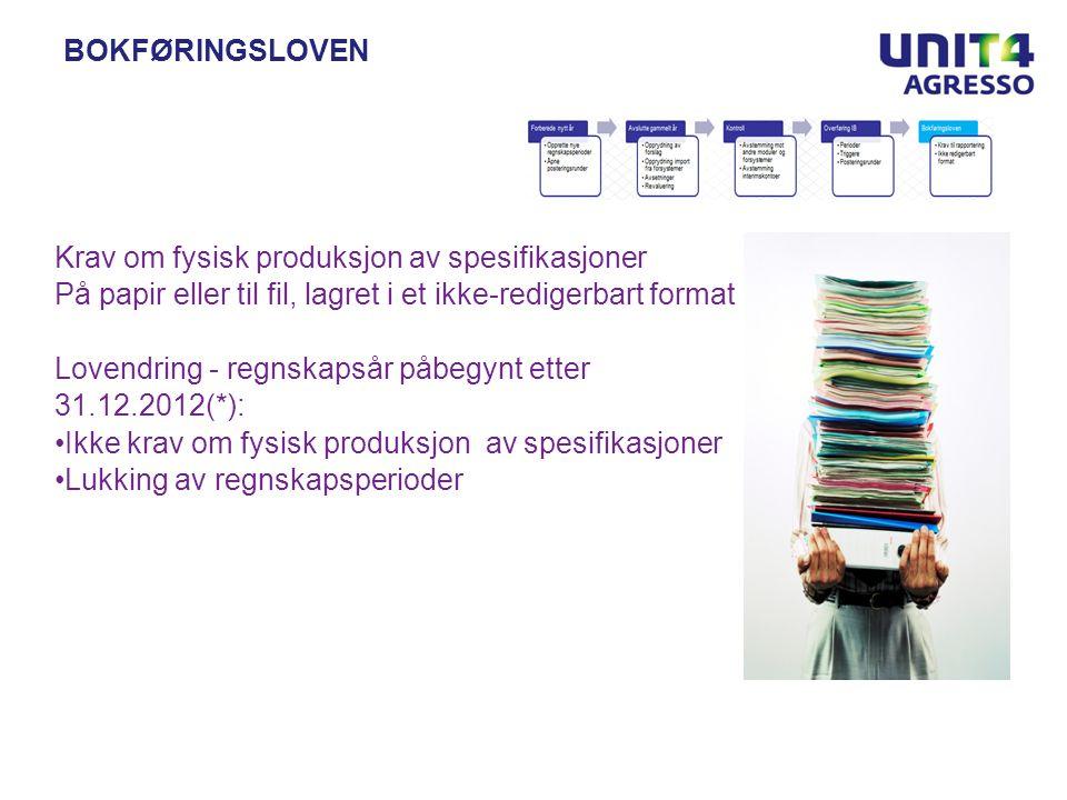 Bokføringsloven Krav om fysisk produksjon av spesifikasjoner. På papir eller til fil, lagret i et ikke-redigerbart format.