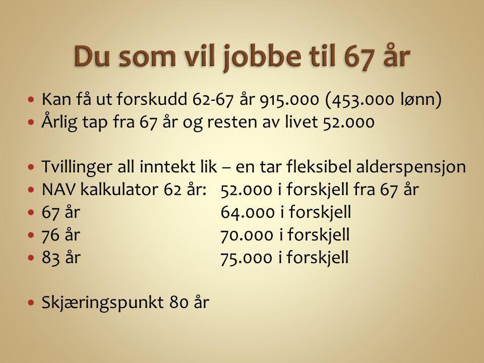 Du som vil jobbe til 67 år Kan få ut forskudd 62-67 år 915.000 (453.000 lønn) Årlig tap fra 67 år og resten av livet 52.000.