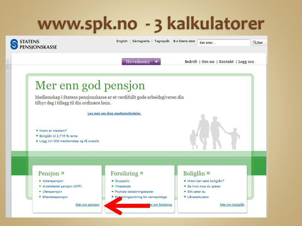 www.spk.no - 3 kalkulatorer