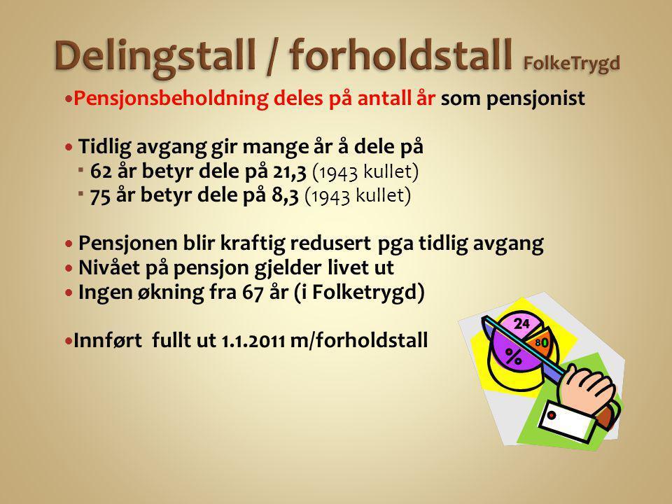 Delingstall / forholdstall FolkeTrygd