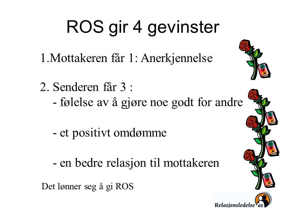 ROS gir 4 gevinster 1.Mottakeren får 1: Anerkjennelse