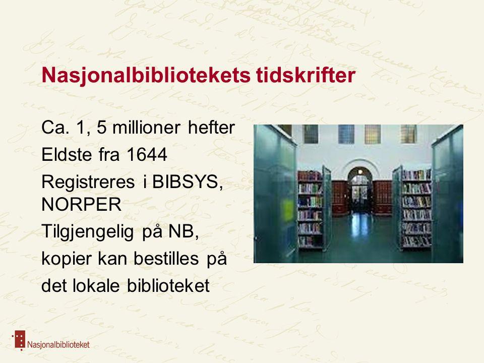 Nasjonalbibliotekets tidskrifter