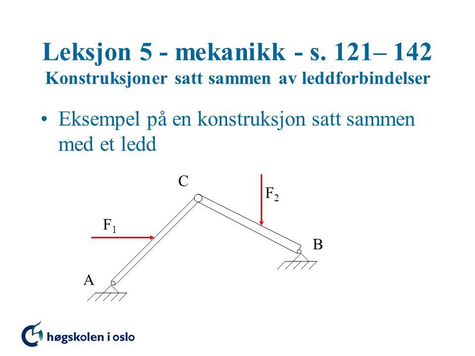 Leksjon 5 - mekanikk - s. 121– 142 Konstruksjoner satt sammen av leddforbindelser