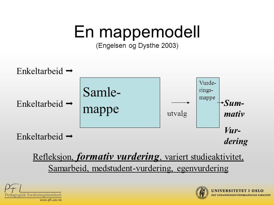 En mappemodell Samle-mappe Enkeltarbeid  Sum-mativ Vur-dering