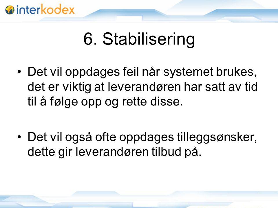 6. Stabilisering Det vil oppdages feil når systemet brukes, det er viktig at leverandøren har satt av tid til å følge opp og rette disse.