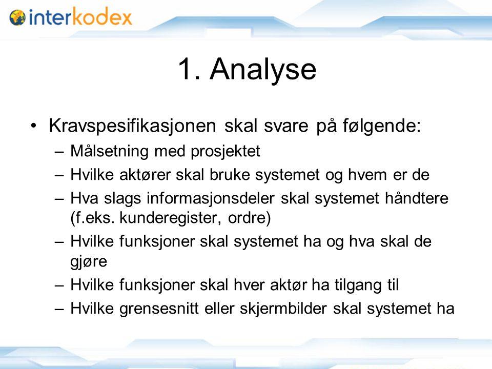 1. Analyse Kravspesifikasjonen skal svare på følgende: