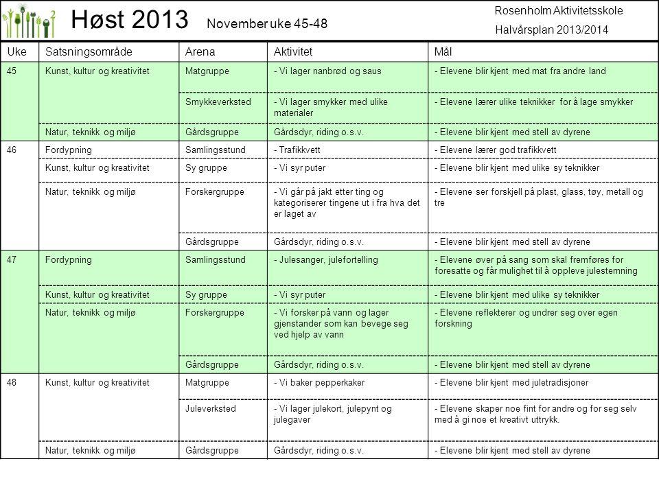 Høst 2013 November uke 45-48 Rosenholm Aktivitetsskole