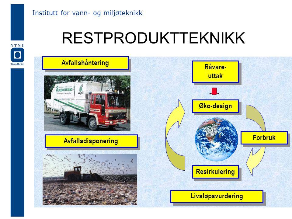 RESTPRODUKTTEKNIKK Avfallshåntering Råvare- uttak Øko-design Forbruk