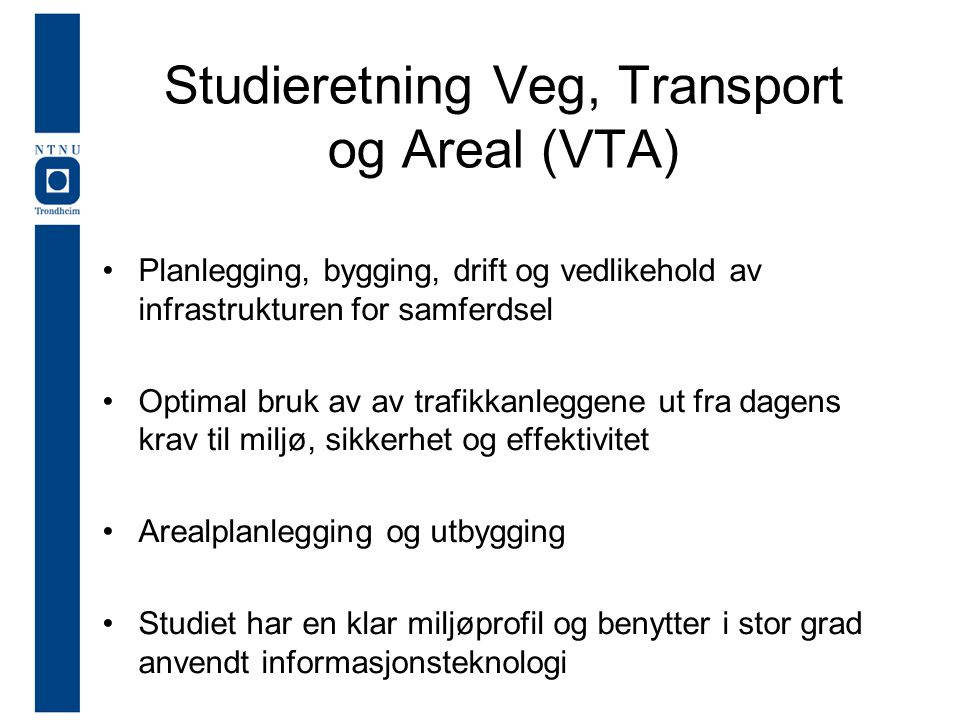 Studieretning Veg, Transport og Areal (VTA)