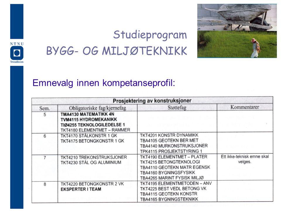 Studieprogram BYGG- OG MILJØTEKNIKK Emnevalg innen kompetanseprofil: 5