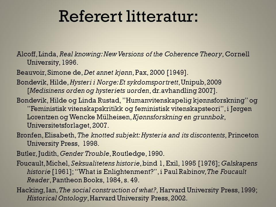 Referert litteratur: