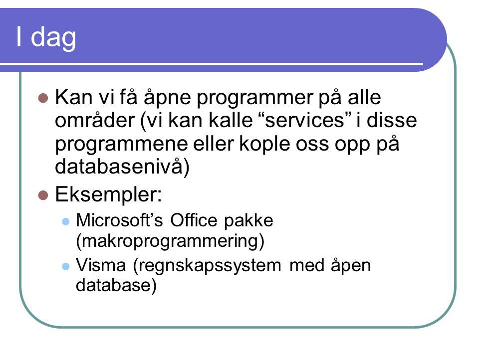 I dag Kan vi få åpne programmer på alle områder (vi kan kalle services i disse programmene eller kople oss opp på databasenivå)