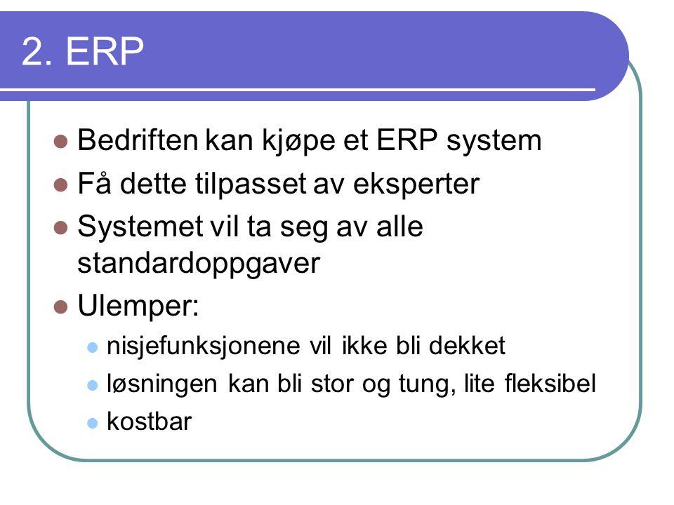 2. ERP Bedriften kan kjøpe et ERP system