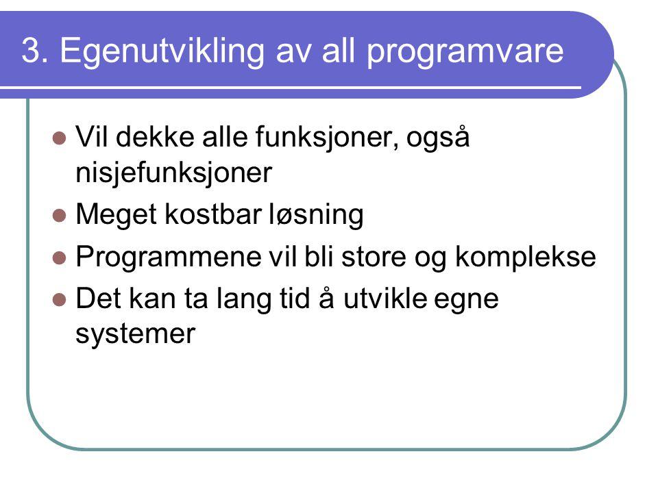3. Egenutvikling av all programvare