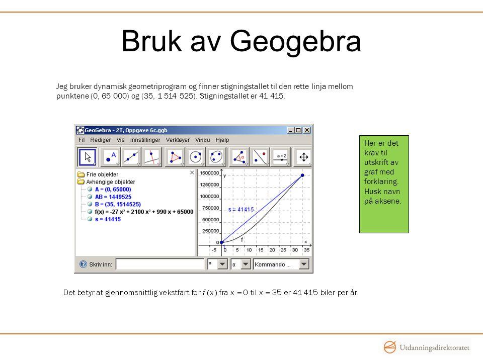Bruk av Geogebra Jeg bruker dynamisk geometriprogram og finner stigningstallet til den rette linja mellom.