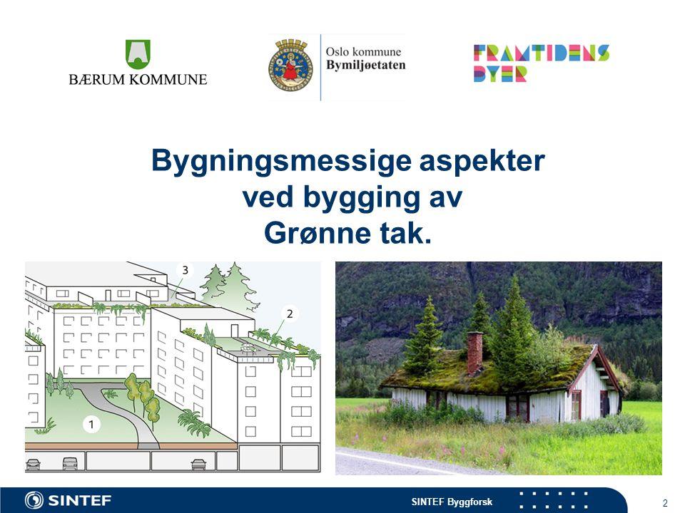 Bygningsmessige aspekter ved bygging av Grønne tak.