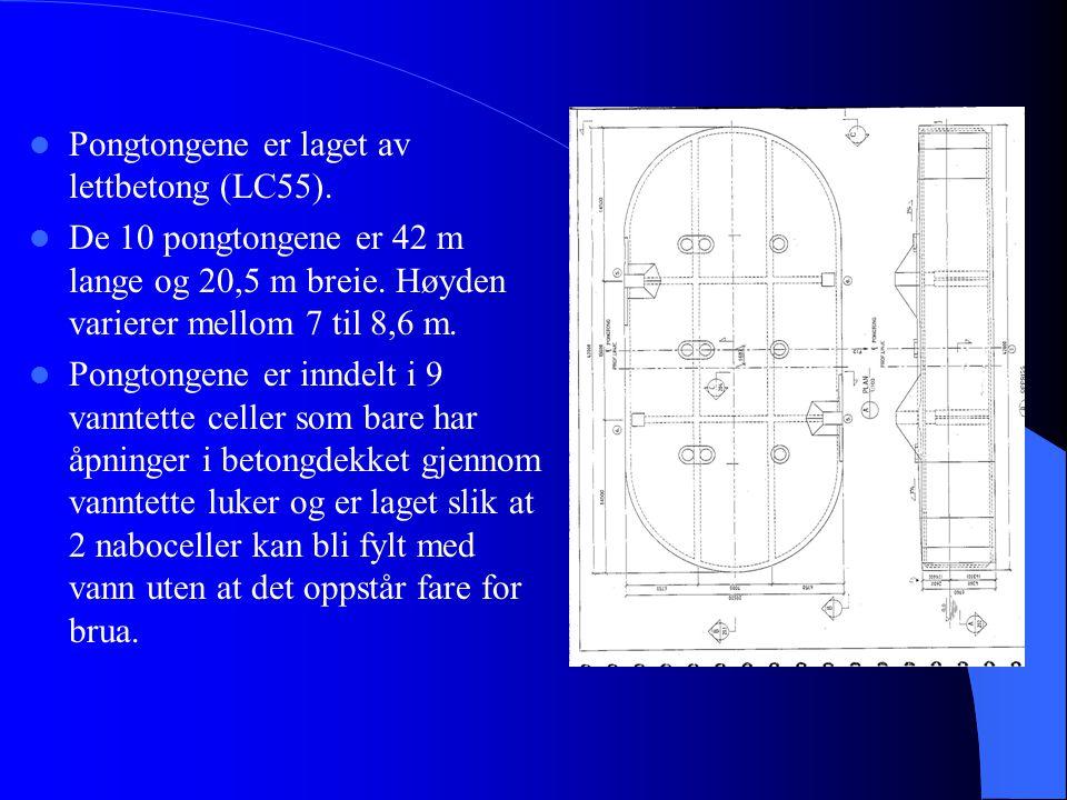 Pongtongene er laget av lettbetong (LC55).