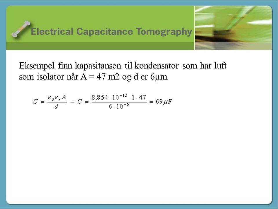 Eksempel finn kapasitansen til kondensator som har luft som isolator når A = 47 m2 og d er 6µm.