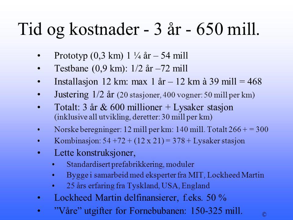 Tid og kostnader - 3 år - 650 mill.