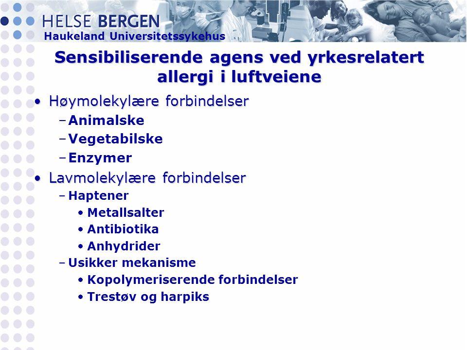 Sensibiliserende agens ved yrkesrelatert allergi i luftveiene