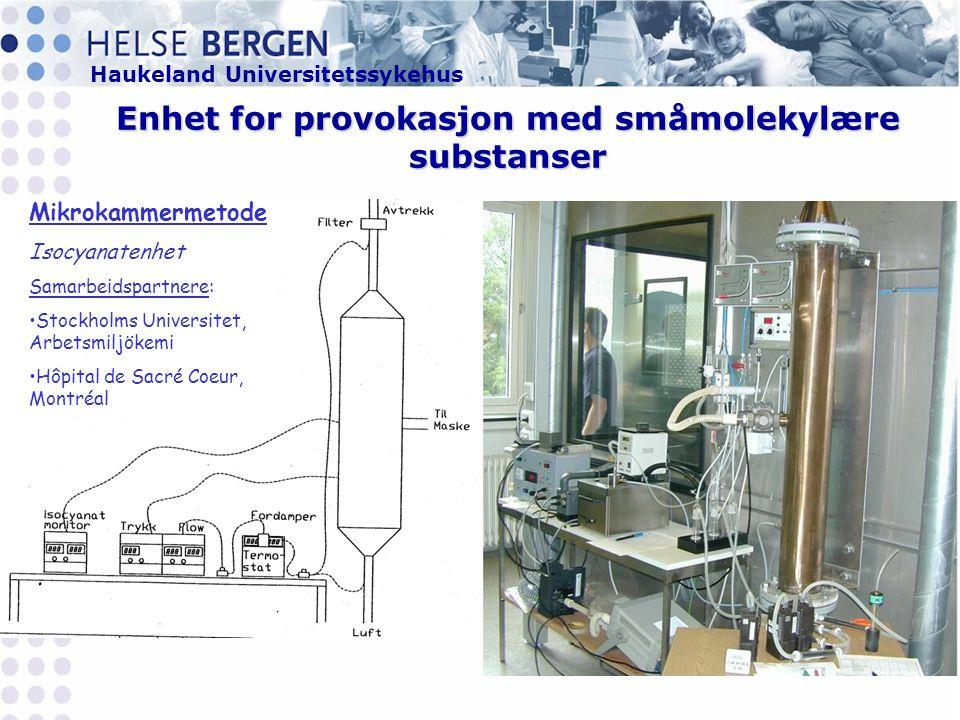 Enhet for provokasjon med småmolekylære substanser