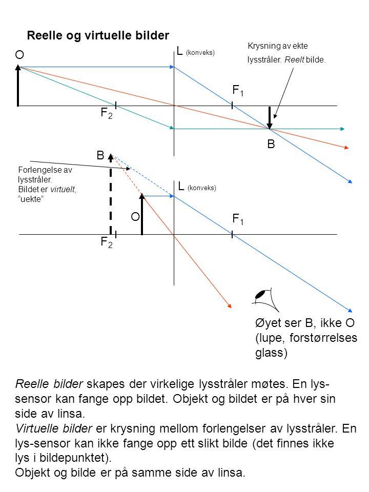 Reelle og virtuelle bilder L (konveks) O