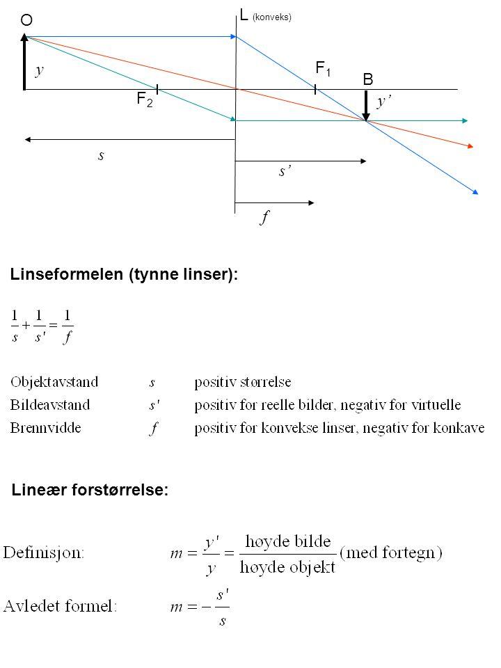L (konveks) O y F1 B F2 y' s s' f Linseformelen (tynne linser): Lineær forstørrelse: