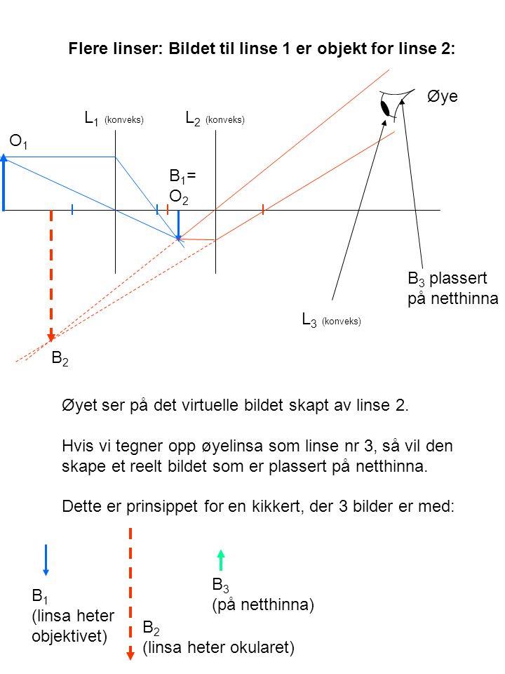 Flere linser: Bildet til linse 1 er objekt for linse 2: